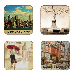 Σουβέρ Ξύλινα Χειροποίητα New York  Σετ 4 τεμάχια 40190
