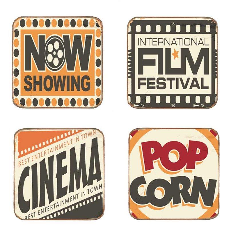 Σουβέρ Ξύλινα Χειροποίητo Cinema  S/4 τεμ. 40240