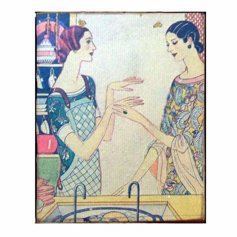 Vinatge διακοσμητικό Χειροποίητο Πινακάκι με κοπέλες