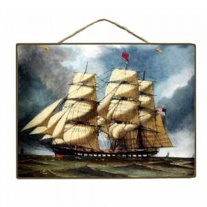 Vintage Ξύλινο Πινακάκι Ιστιοφόρο 20 x 25 cm 1771