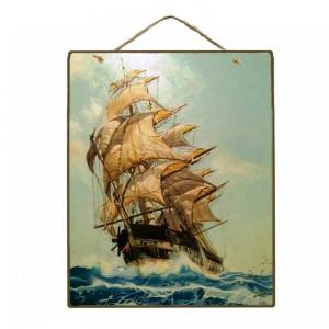 Vintage Ξύλινο Πινακάκι Ιστιοφόρο 20 x 25 cm 1772