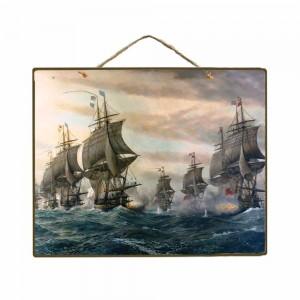 Vintage Ξύλινο Πινακάκι Ιστιοφόρο 20 x 25 cm 1773