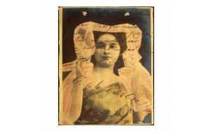 Vintage διακοσμητικό Χειροποίητο Πινακάκι με κοπέλα