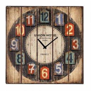 Vintage Ξύλινο Ρολόι Τοίχου Τετράγωνο Union Hotel 48 cm