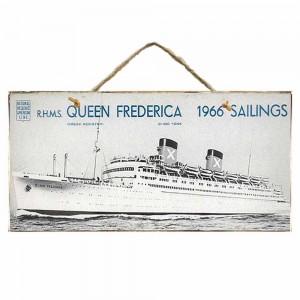 Vintage Ξύλινος Πίνακας Queen Frederica 13 x 26 cm