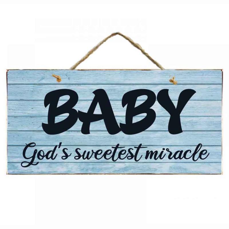 Vintage ξύλινος χειροποίητος πίνακας 'BABY God's sweetest miracle'
