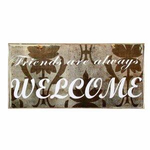 Vintage ξύλινος χειροποίητος πίνακας 'Friends are always welcome'