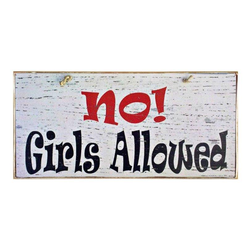 Vintage ξύλινος χειροποίητος πίνακας 'No girls allowed'