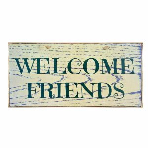 Vintage ξύλινος χειροποίητος πίνακας 'Welcome friends'