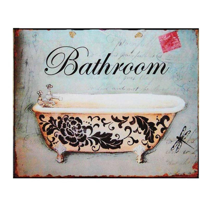 Vintage Πίνακας Χειροποίητος 'Bathroom'
