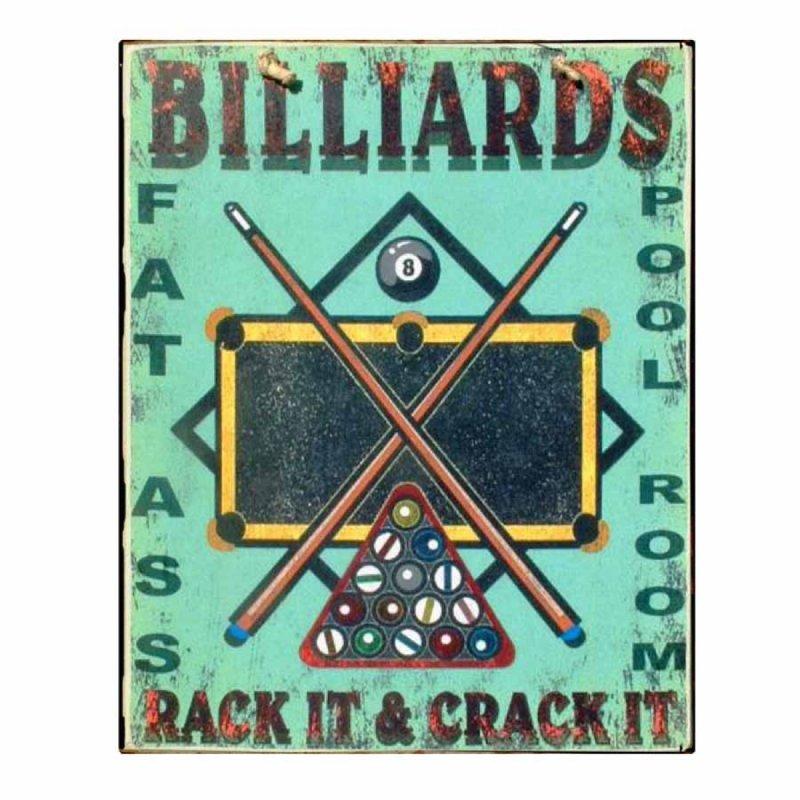 Vintage πίνακας xειροποίητος Billiards