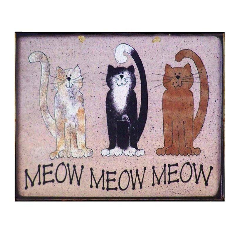 Vintage Πίνακας Χειροποίητος Γάτες