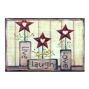 Vintage Πίνακας Χειροποίητος Live, Laugh Love  21cm X 30cm
