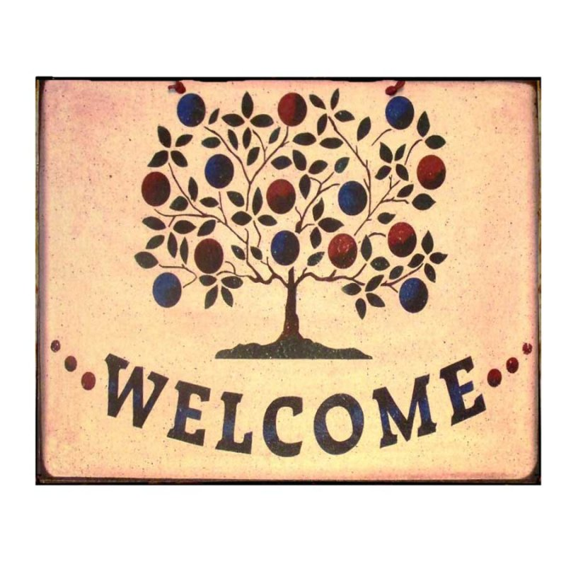 Vintage Πίνακας Χειροποίητος Welcome με δέντρο