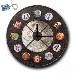 Vintage Ρολόι τοίχου Grunge - Ξύλινο Χειροποίητο 48cm
