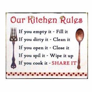Vintage Χειροποίητο Πινακάκι Κανόνες Κουζίνας