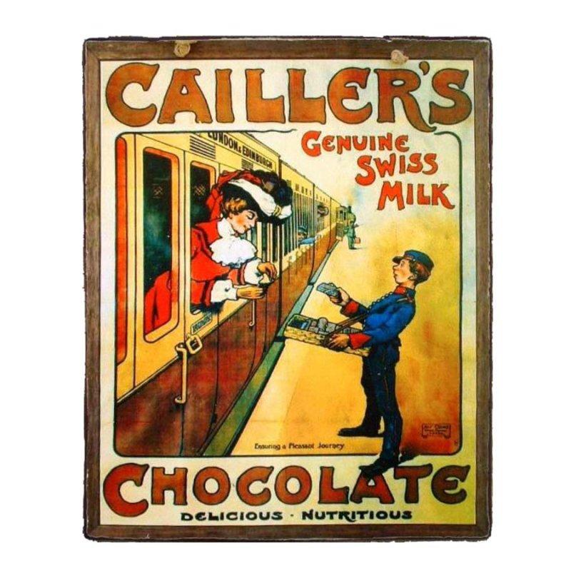Vintage Χειροποιήτο πινακάκι Σοκαλατοποιίας Cailler's Chocolate