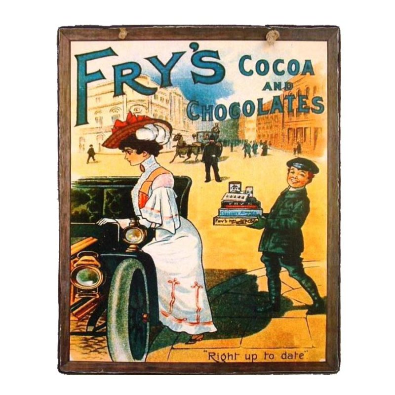 Vintage Χειροποιήτο πινακάκι Σοκαλατοποιίας Cocoa & Chocolates