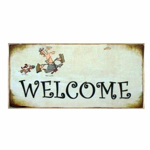 Welcome - Χειροποίητο Vintage πινακάκι