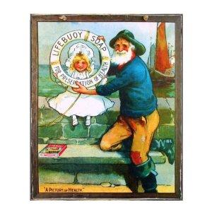 Χειροποίητο διακοσμητικό πινακάκι με διαφήμιση Σαπουνιού