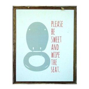 Χειροποίητο διακοσμητικό πινακάκι με υπόδειξη για την τουαλέτα γαλάζιο