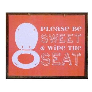 Χειροποίητο διακοσμητικό πινακάκι με υπόδειξη για την τουαλέτα κόκκινο