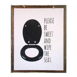 Χειροποίητο διακοσμητικό πινακάκι με υπόδειξη για την τουαλέτα μαύρο
