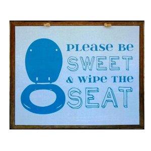 Χειροποίητο διακοσμητικό πινακάκι με υπόδειξη για την τουαλέτα μπλε