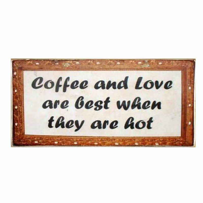 Χειροποίητο πινακάκι Coffee & Love are best when they are hot