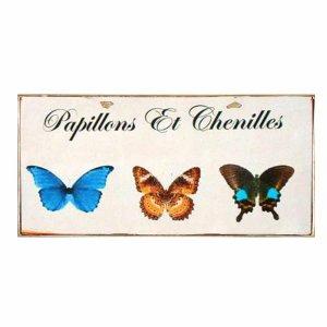 Χειροποίητο πινακάκι με μήνυμα στα Γαλλικά - Πεταλούδες