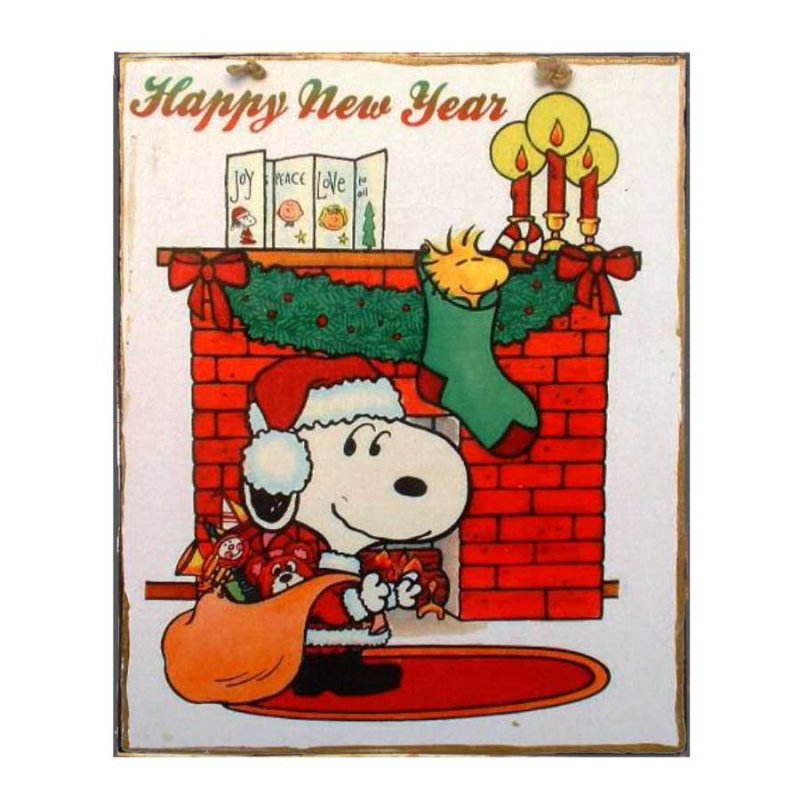 Xειροποίητο Χριστουγεννιάτικο ταμπελάκι  Cartoon - Happy New Year