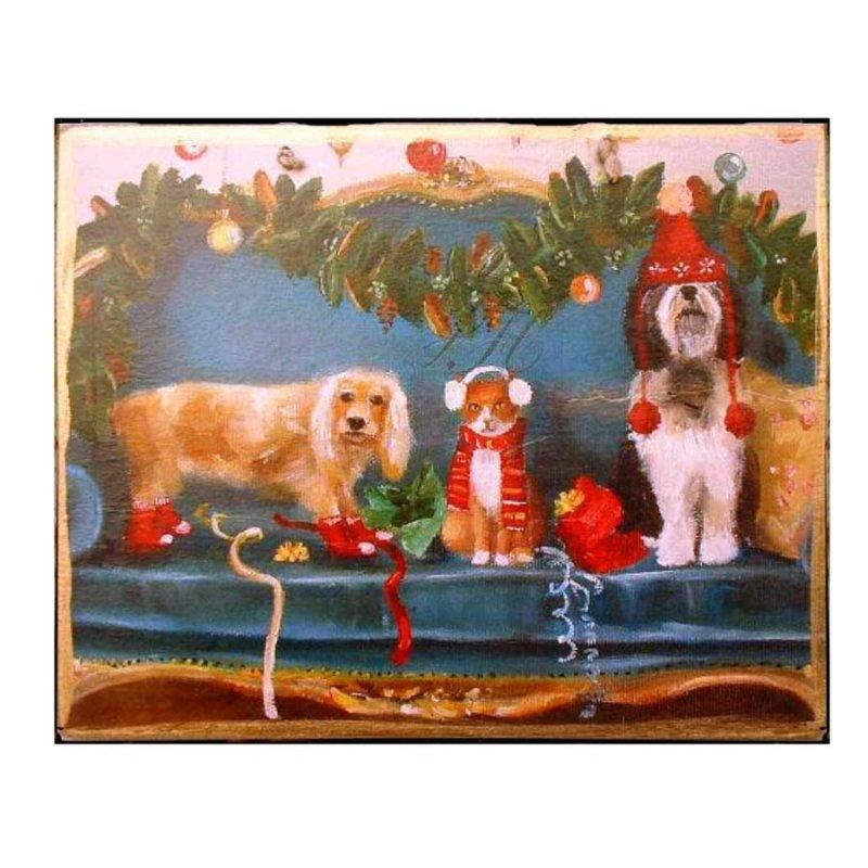 Xειροποίητο Χριστουγεννιάτικο ταμπελάκι  με ζωάκια