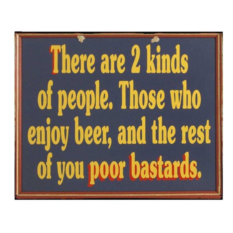 Χιουμοριστικός Πίνακας Χειροποίητος Ρετρό 'Kinds of people who enjoy beer'