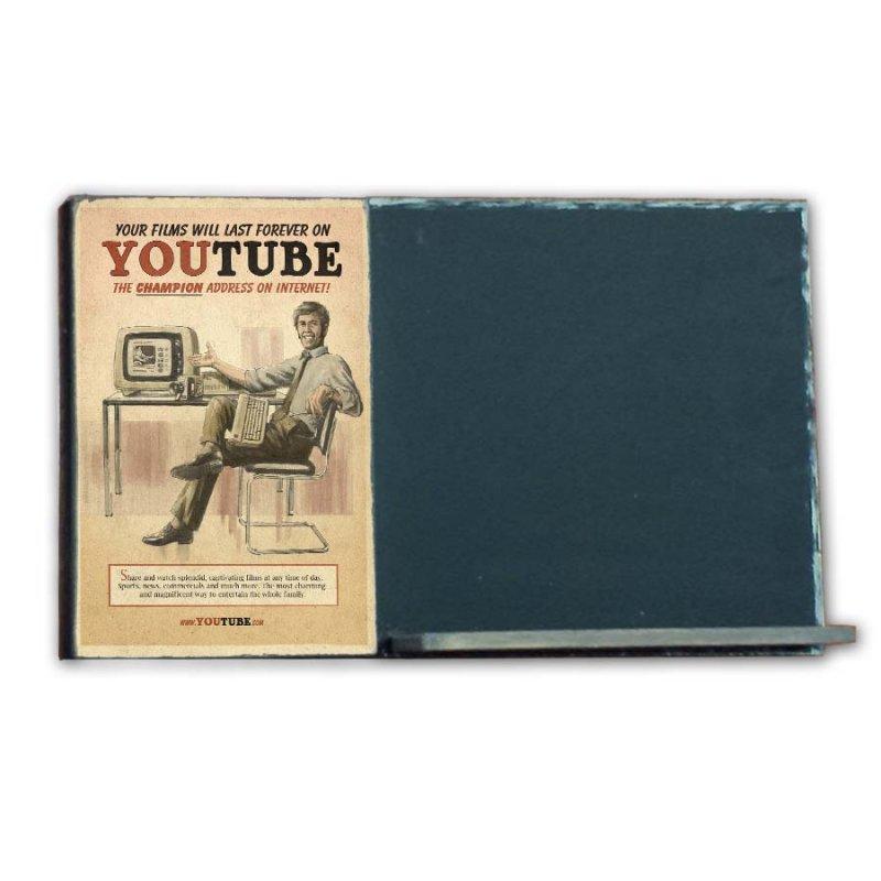 Youtube  Ξύλινος Χειροποίητος Μαυροπίνακας 38 x 26 cm