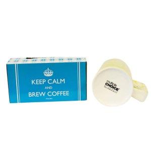 Retro κίτρινη μεγάλη κούπα για καφέ με μήνυμα Keep calm and take a sip