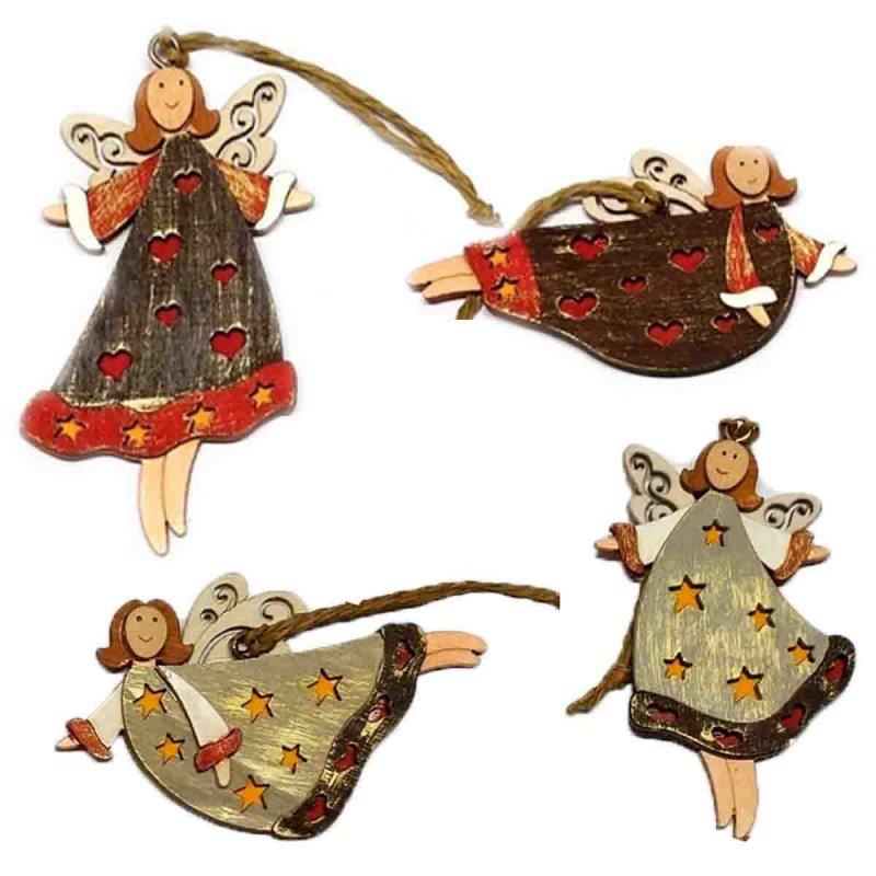 SP Σετ 2 τεμ. Χριστουγεννιάτικα Στολίδια Ξύλινα Fairies 10cm