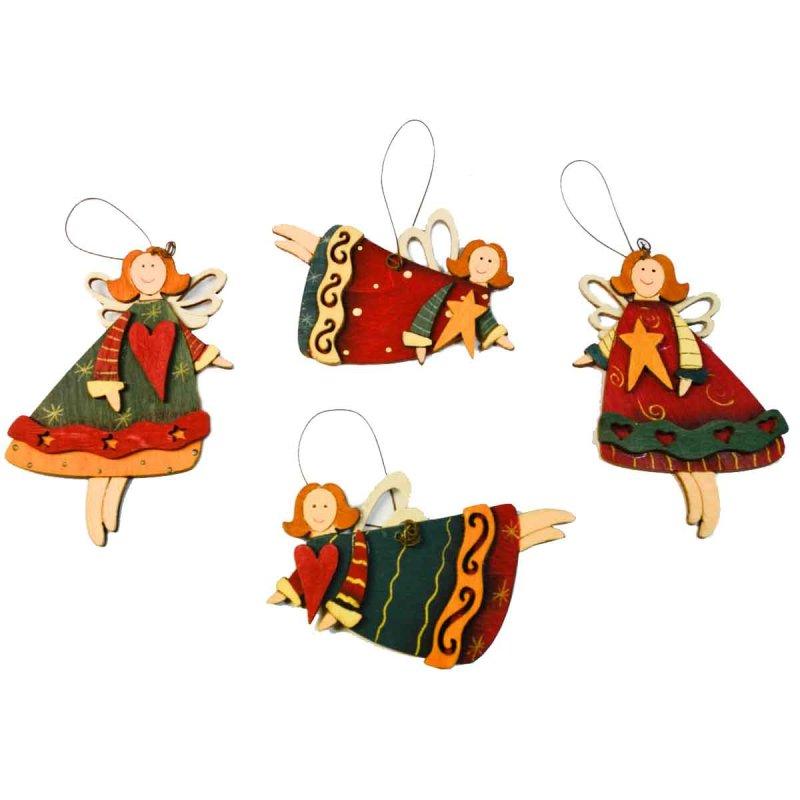 SP Σετ 2 τεμ. Χριστουγεννιάτικα Στολίδια Ξύλινα Fairies 9cm