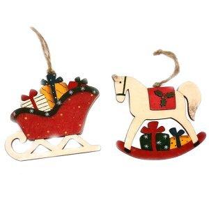 SP Χριστουγεννιάτικα Στολίδια ξύλινα αλογάκι και έλκηθρο