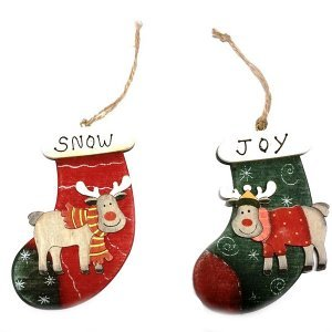 SP Xριστουγεννιάτικα Στολίδια Ξύλινες Μπότες 12cm