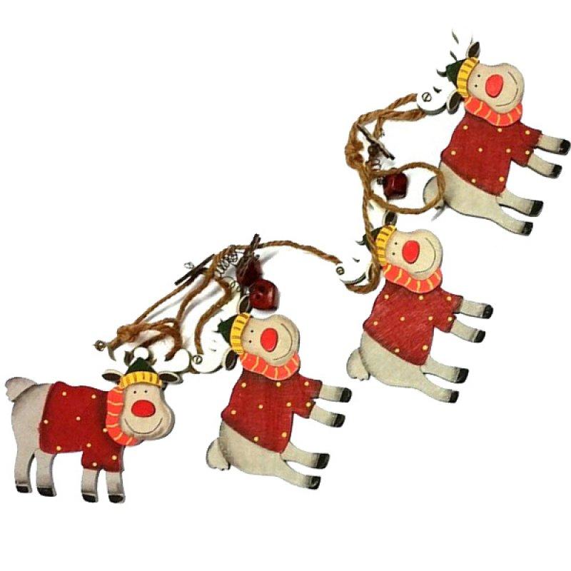 SP Χριστουγεννιάτικη Γιρλάντα Ξύλινη Ταρανδάκια  1m