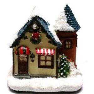 SP Χριστουγεννιάτικο Σπιτάκι Με Φώς με χιόνι 9cm