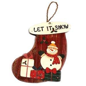 SP Χριστουγεννιάτικο Στολίδι Ξύλινη Μπότα Snowman 20cm