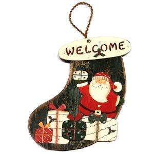 SP Χριστουγεννιάτικο Στολίδι Ξύλινη Μπότα Welcome 20cm