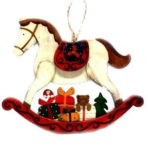 SP Χριστουγεννιάτικο Στολίδι Ξύλινο Αλογάκι 26cm