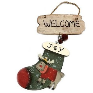 SP Χριστουγεννιάτικο Στολίδι Ξύλινο Welcome 17cm