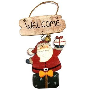 SP Χριστουγεννιάτικο Στολίδι Ξύλινο Welcome Santa 17cm