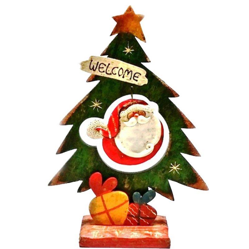 Χριστουγεννιάτικο Ξύλινο Δεντράκι Santa 26cm