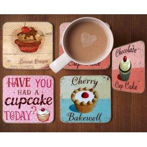 Σουβέρ Ξύλινα Χειροποίητα Cupcakes  Σετ 4 τεμάχια 40050