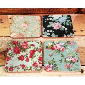 Σουβέρ Ξύλινα Χειροποίητα Floral Σετ 4 τεμάχια 40010