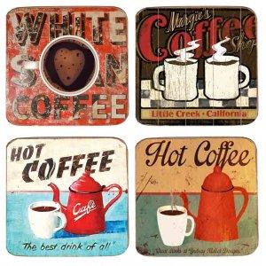 Σουβέρ Ξύλινα Χειροποίητα Coffee  Σετ 4 τεμάχια 40030